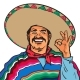 Smiling Man in Sombrero and Poncho