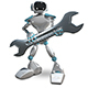 3D Illustration of Robot with Wrench