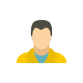 Man in a yellow jacket icon, flat style