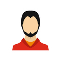 Man with a beard icon in flat style