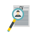 Magnifying glass over CV icon, flat style