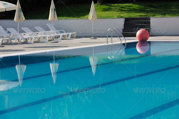 hotel outdoor swimming pool - Stock Photo - Images