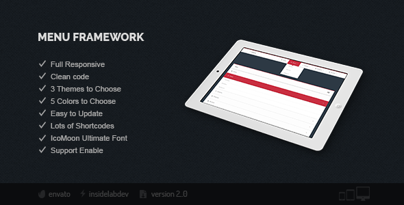 Menu Framework - CodeCanyon Item for Sale