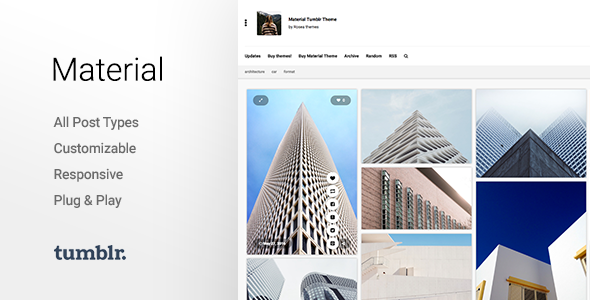 Material | Responsive, Full Width, Grid Tumblr Theme for Photographers