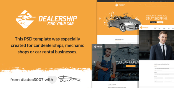 Dealership - Car Dealership, Mechanic & Rental PSD Template