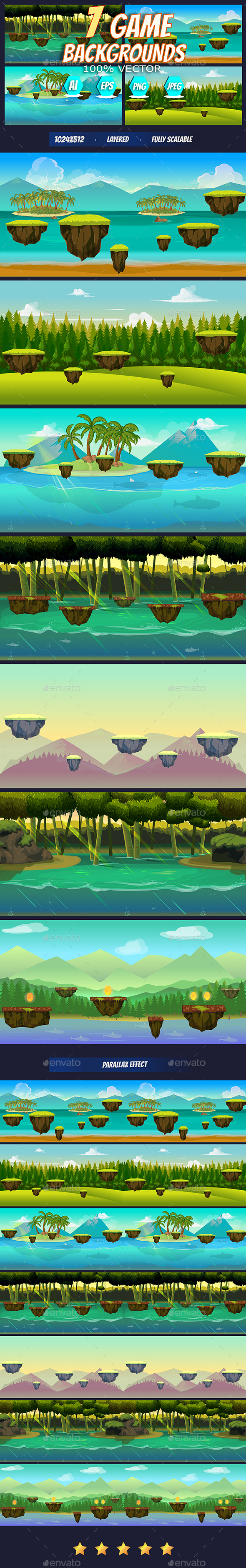 Hills, Forest & Dryland Game Background (Backgrounds)