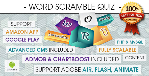 Word Scramble Quiz With CMS & Ads - Android