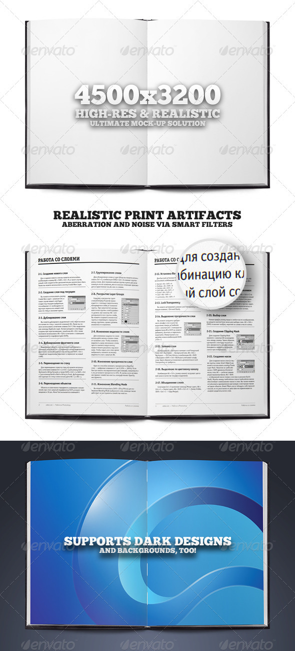 Open Book or Magazine Mock-up Print Template - Magazines Print Templates