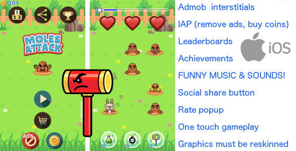 Download Whack a mole iOS +Ads +In App Purchase +20 LEVELS nulled download
