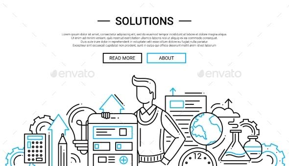 Line Design Solutions : Solutions line design website banner temlate