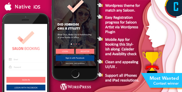 Saloon Booking iOS Native App with WordPress Plugin with Responsive Web Theme