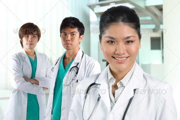 A team of a happy Asian Doctors - Stock Photo - Images