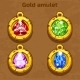 Golden Old Amulet with Color Jewels