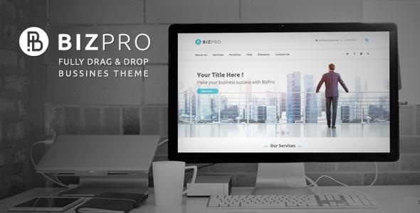Фото Wordpress премиум шаблон  BizPro - Business Theme + RTL — bizpro responsive business wordpress theme v1 old.  large preview