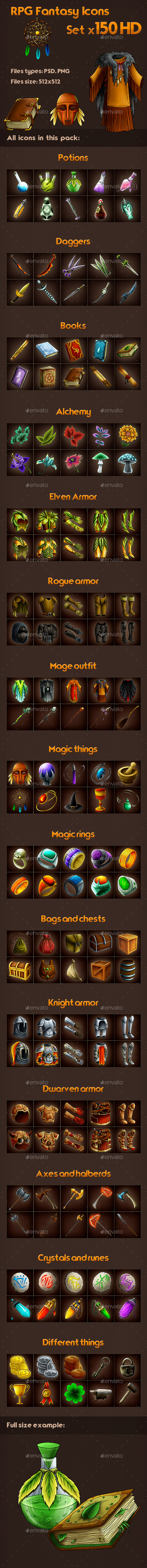 150 RPG Fantasy Icons Set (Weapons, Armor, Clothes) (Miscellaneous)