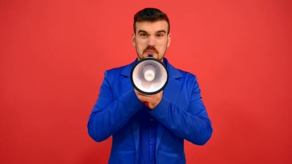 VideoHive Unkind Man Speak In Megaphone Shouts In Speaker 18624630