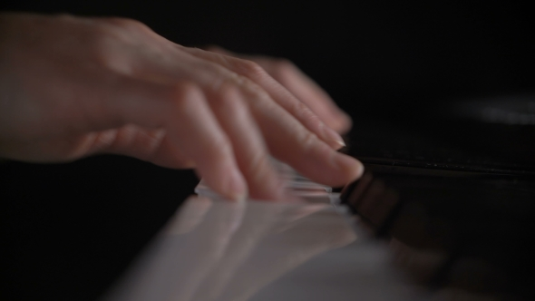 VideoHive Shallow Depth Of Field Hands Of Woman Playing Piano Keyboard Press On Black And White Key 18626951
