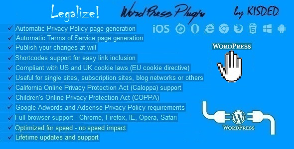 Legalize Privacy Policy and Terms of Service Generator Plugin for WordPress