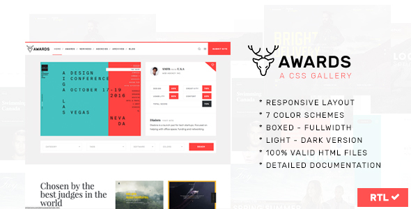 Awards   CSS Gallery Nominees Website Showcase Responsive Template