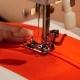 Stitch On Red Fabric.