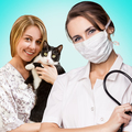 Veterinarian woman with cat