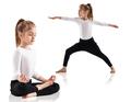 Little girl doing yoga exercises