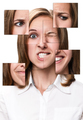 Woman face collected from different parts
