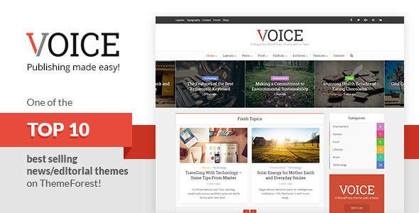 voice screenshot.  large preview - Voice - Clean News/Magazine WordPress Theme