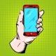 Hand Holding Smartphone Pop Art Design