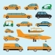 Taxi Different Types Icons