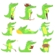 Humanized Crocodile Character Every Day Activities