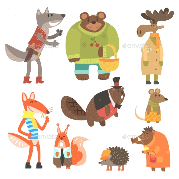 Forest Animals Dressed In Human Clothes Set