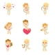Download Vector Baby Angels With Bows, Arrows And Hearts Set