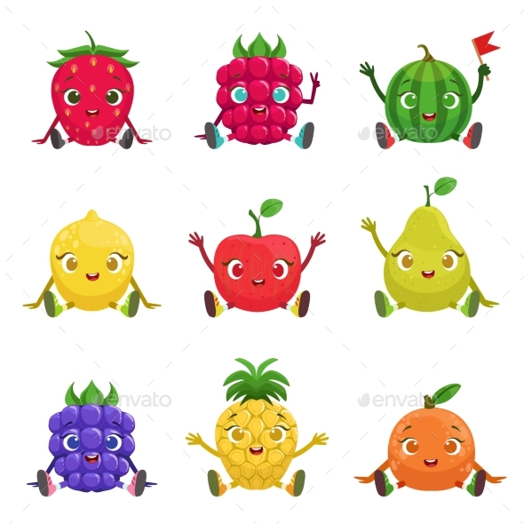 Fruit and Berries Characters Sitting