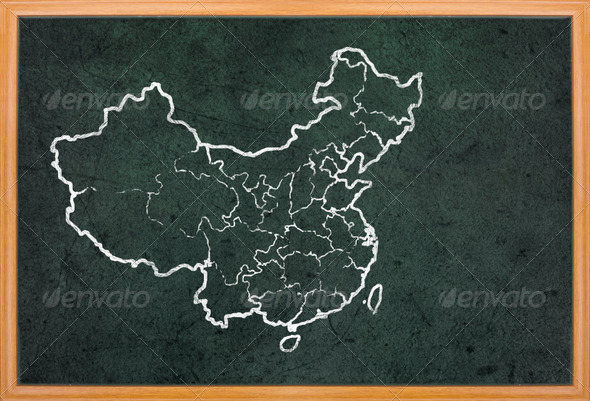 France map and flag draw on blackboard - Stock Photo - Images