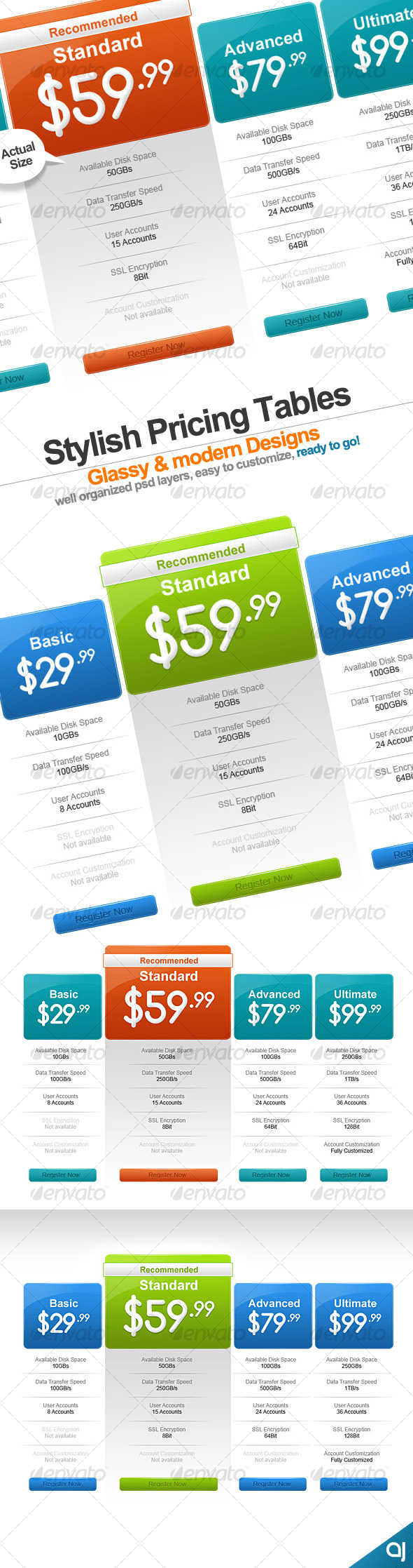 GraphicRiver Stylish 2 pricing table designs 71490