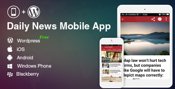 Mobile Application for WordPress Weblog, News Web-site (Add-ons)