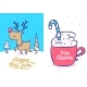 New Year and Christmas Greeting Card Set