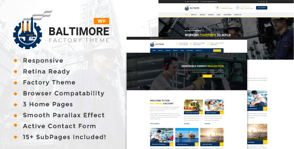 Baltimore Factory – Factory &amp Industrial Company WordPress Theme (Company)