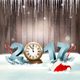 New Year Background with a 2017 and Clock Vector