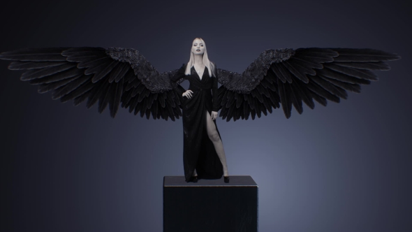 VideoHive Blonde Girl In a Black Dress And With Wings 18654592