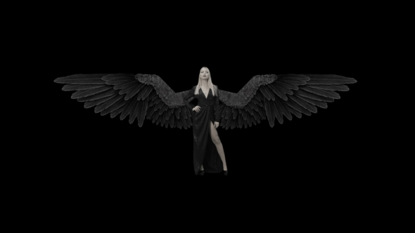 VideoHive Blonde Girl In a Black Dress And With Wings 18654595