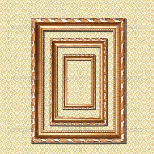 retro wooden frame on native Thai style wall - Stock Photo - Images