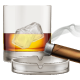 Whiskey Glass with Cigar and Ashtray.