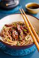 Fried noodles yakisoba with beef