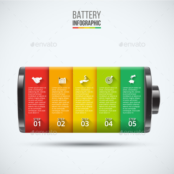 Vector battery element for infographic.