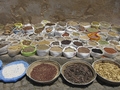 Baskets and sacks with all kinds of dried herbs in Morocco