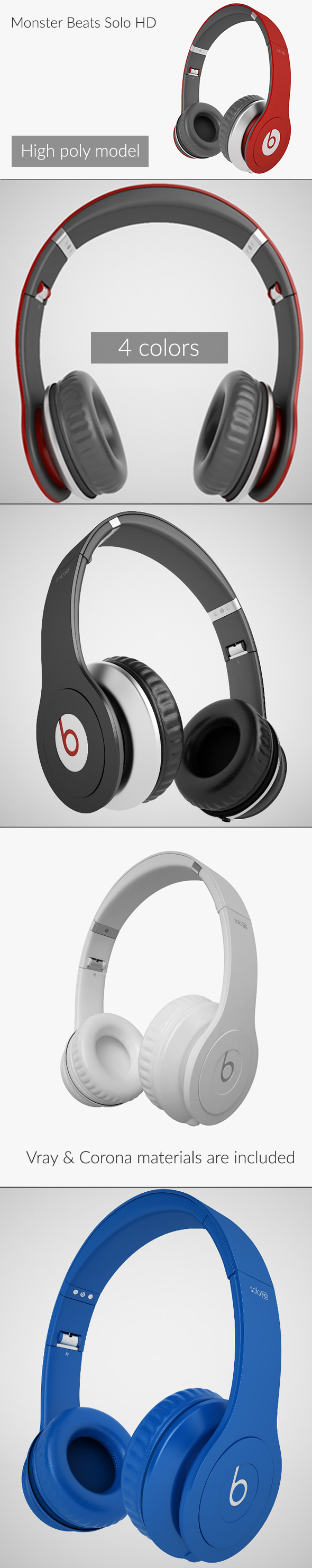 Monster Beats Solo HD - 3DOcean Item for Sale