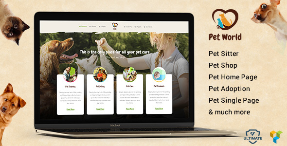 Download Pet World - Pet sitter and Pet Shop, Pet Services WordPress Theme nulled download