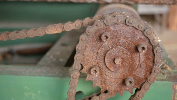VideoHive Vintage Tape Transport Mechanism Rusty Gears And Chains Abandoned Factory 18667267
